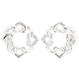 Bulgari Doppio 18K White Gold Cuore Diamond Pierced Earrings
