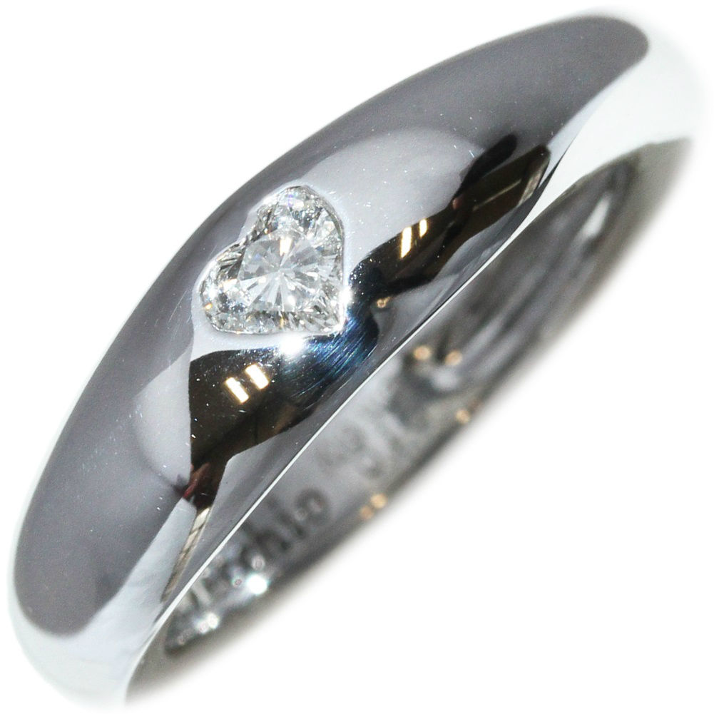 "Image of ""Ponte Vecchio 18k White Gold 0.13ct. Diamond Heart Ring Size 4.5"""
