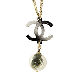 Chanel CC Logo Silver Tone Faux Pearl Necklace