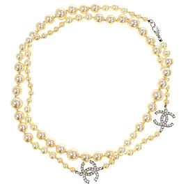 Chanel Silver Tone Faux Pearl Necklace