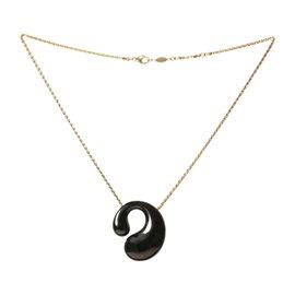 De Grisogono 18K Yellow Gold Black Enamel Pendant Necklace