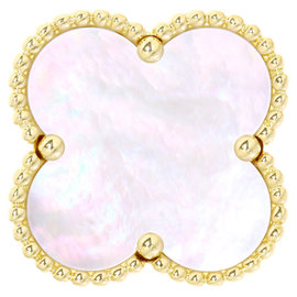 Van Cleef & Arpels 18K Yellow Gold Mother of Pearl Pearl Magic Alhambra Ring Size 6.5