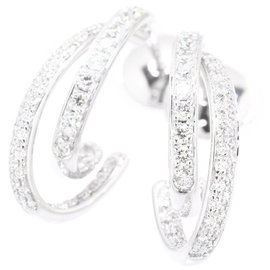 Piaget 18K White Gold 0.78ct Diamond Pierced Earrings