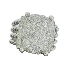 David Yurman 925 Sterling Silver Wheaton Pave 1.12 Diamond Ring Size 7