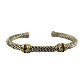 David Yurman 925 Sterling Silver and 14K Yellow Gold with Ruby Cable Classics Double-Station Bracelet