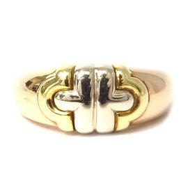 Bulgari Parentesi 18k White Rose and Yellow Gold Ring Size 5.75
