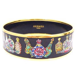 Hermes Gold Tone Metal & Cloisonne Enamel Black Bangle Bracelet