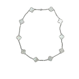 Van Cleef & Arpels Alhambra 18K White Gold with Mother Of Pearl Motifs Necklace