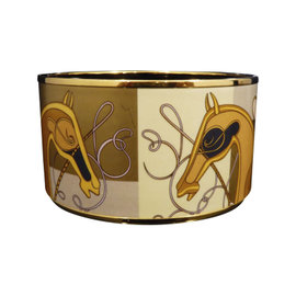 Hermes Cloisonne Gold Tone Metal Brown Horse Bangle Bracelet