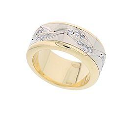 Pomellato 18k White & Yellow Gold Diamond Ring Size 5.25
