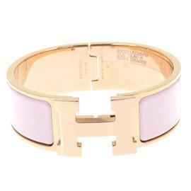 Hermes Gold Tone Hardware Clic H GM Rose Dragee Enamel Bangle Bracelet