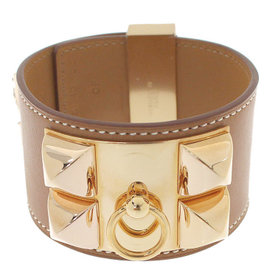 Hermes Collier de Chien Gold Tone Hardware, Barenia Leather Bracelet