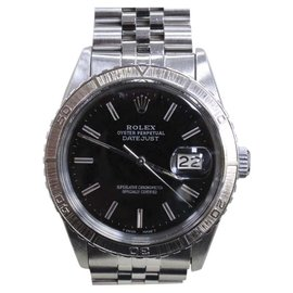 Rolex Datejust 16250 Stainless Steel Thunderbird Turned Engine Bezel Black Dial 36mm Mens Watch