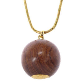 Hermes Sellier Gold Tone Hardware Woodball Necklace Pendant