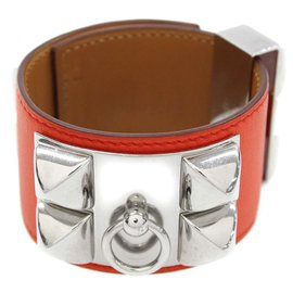 Hermes Collier de Chien Silver Tone Hardware Swift Leather Bracelet