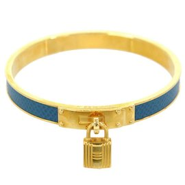 Hermes Gold Tone Hardware Kelly Blue Leather Bangle Padlock