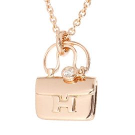 Hermes Motif 18K Rose Gold Diamond Necklace