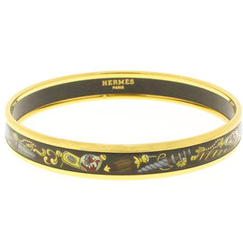 Hermes Gold Tone Hardware Cloisonne Black Bangle