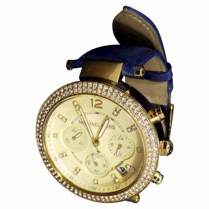 "Image of ""Michael Kors Parker Mk2280 Gold Tone Stainless Steel & Leather Quartz"""