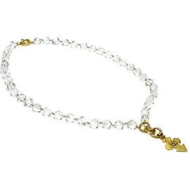 Chanel Gold Tone Hardware & Acrylic Stone Coco Mark Necklace