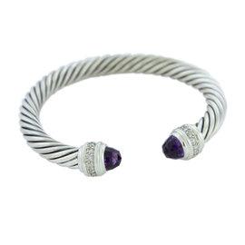 David Yurman Cable Classics 925 Sterling Silver Amethyst and Diamonds Bracelet