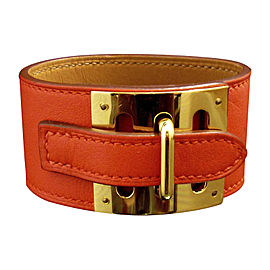 Hermes Gold Tone & Leather Intense Belt Motif Bangle Bracelet