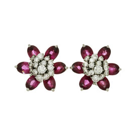 Van Cleef & Arpels 18K White Gold Diamond and Rubellite Flower Earrings