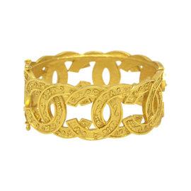 Chanel Gold Tone Hardware Coco Mark Bangle Bracelet