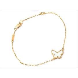 Van Cleef & Arpels 18K Yellow Gold & Mother Of Pearl Sweet Alhambra Papillon Bracelet