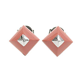 Hermes Medor Silver Tone Hardware Cupidon Coral Pyramid Pierced Earrings