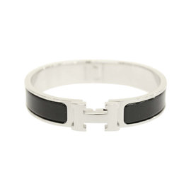 Hermes Palladium Black Enamel Clic H PM Bangle