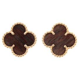Van Cleef & Arpels 18K Rose Gold Letterwood Earrings
