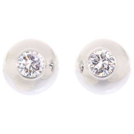 Cartier 18K White Gold Diamond Pierced Earrings