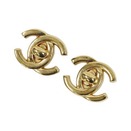 Chanel Gold Tone Hardware Coco Mark Earrings