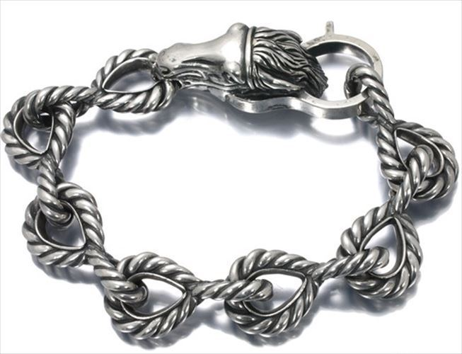 "Image of ""Gucci 925 Sterling Silver Bangle Horse Motif Bracelet"""
