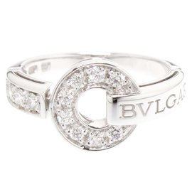 Bulgari 18K White Gold Diamonds Ring Size 6.25