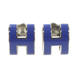 Hermes Silver Tone Hardware Pop H Motif Blue Pierced Earrings