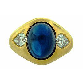 Bulgari 18K Yellow Gold Sapphire 6.05ct Diamond Ring Size 5.5