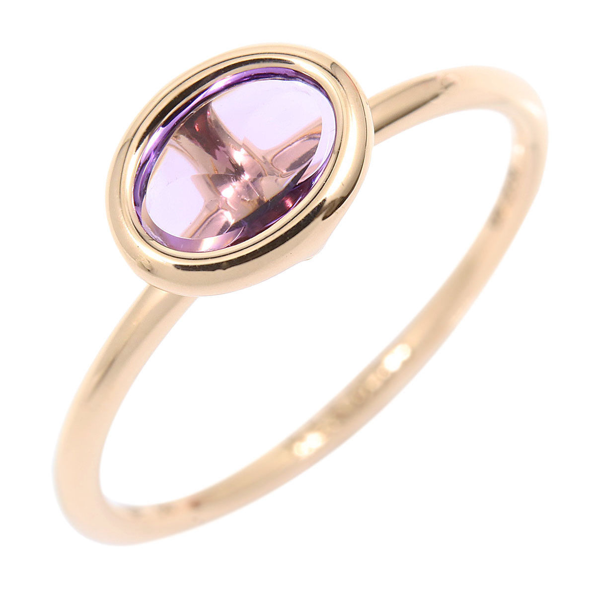 "Image of ""Hermes 18K Rose Gold with Amethyst Ring Size 5.25"""