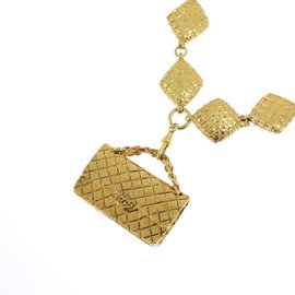 Chanel Matelasse Gold Tone Hardware Bag Motif Necklace