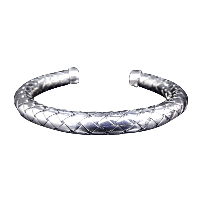 "Image of ""Bottega Veneta Intrecciato 925 Sterling Silver Bangle Bracelet"""