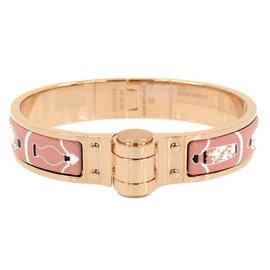 Hermes Pink Gold Tone Hardware Flacons Bandana Enamel Bracelet
