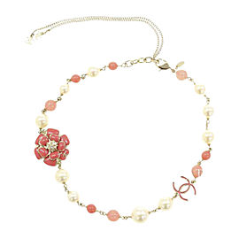 Chanel Gold Tone Hardware Faux Pearl Ivory Coral Camellia Necklace