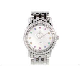Omega De Ville 4575.77 Stainless Steel Diamond Bezel Mother of Pearl Dial with Rhinestones Quartz 22mm Womens Watch