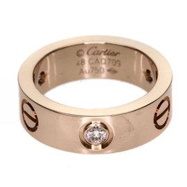 Cartier 18K Rose Gold & Diamond Love Ring Size 4.5