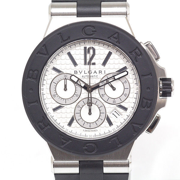 "Image of ""Bulgari Diagono Chronograph Dg42Svch Stainless Steel Rubber White Dial"""