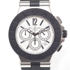 Bulgari Diagono Chronograph DG42SVCH Stainless Steel Rubber White Dial Automatic 42mm Mens Watch