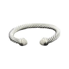 David Yurman 925 Sterling Silver Cable Pave Diamond Tip Cuff Bracelet