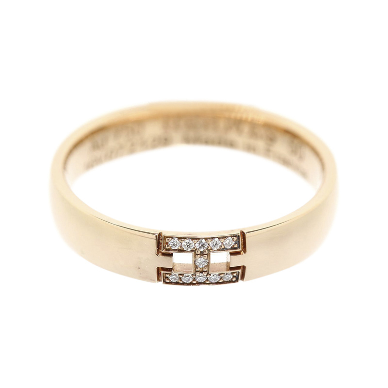 "Image of ""Hermes 18K Rose Gold Diamond Herakles H Motif Ring Size 5.5"""