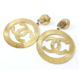 Chanel Gold-Tone Coco Mark CC Logo Swing Clip-On Earrings